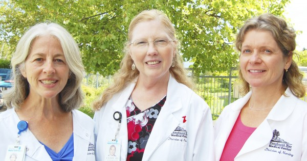 Nurse Sheila Curry (left), manager, Pen Bay Cardiac Rehab; Nurse Cathy Harrell and Nurse Robin Philbrook will be presenters for The Beat Goes On, a five-week course to help those who live with chronic heart disease.