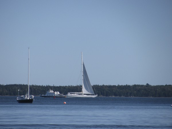 The Mirabella V, the world's largest sloop, sailed Monday afternoon past Islesboro. The 790-ton yacht's mast is nearly 300 feet tall, and it appeared to tower over the Margaret Chase Smith, the Islesboro ferry. The smaller sailboat in the photo's foreground is about a mile away from the yacht.