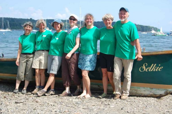 Selkie crew (from left) Willy Reddick, Marnie Reeves, Sally Faulkner, Monica Piccinini, Martha Garfield, Linda Hurley and Chris Gordon took first place in a rowing regatta in Belfast recently.