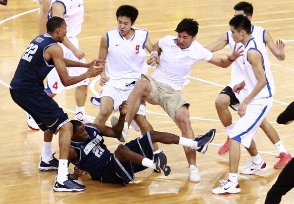 The fight between the Georgetown University men's basketball team and the Bayi Rockets on Thursday night in Beijing forced the game to end early.