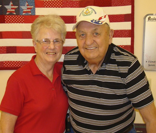 Geneva Allen (left) is pleased that her husband Carroll, who has Alzheimer's, feels safe and secure at Maine Veterans Home in Bangor.