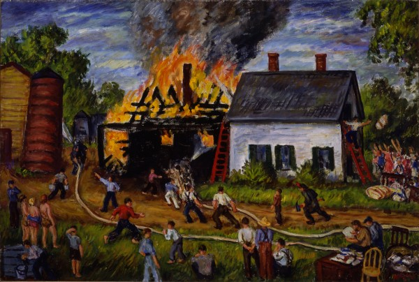 """Fire at East Orrington"" oil painting on canvas by Waldo Peirce in 1940 is 27 inches by 40 1/16 inches and was purchased by the Farnsworth Art Museum in Rockland."