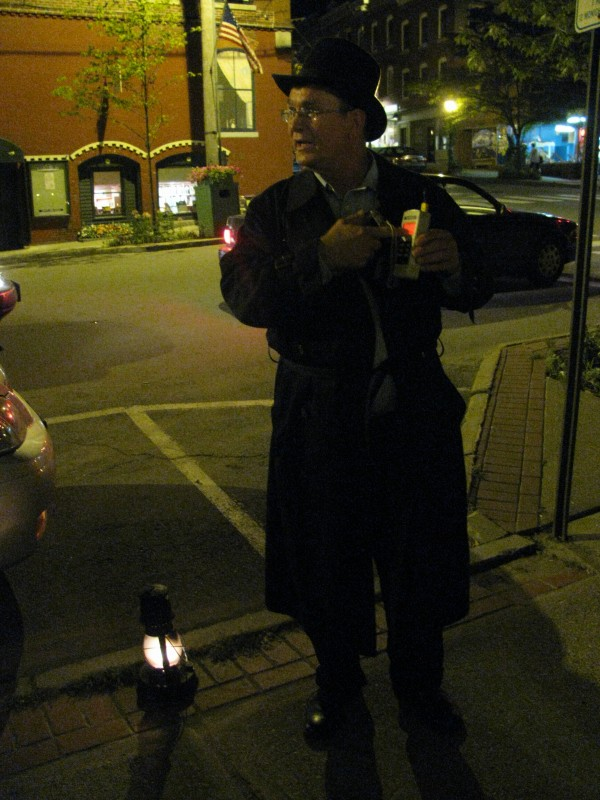 Ted Guerry of Belfast Historical Ghost Walks explained Saturday night where an infamous murder spree began on High Street on Sept. 9, 1933.