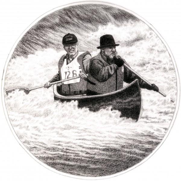 "Lew Gilman (rear) and Ed ""Sonny"" Colburn, founders of the Kenduskeag Stream Canoe Race."