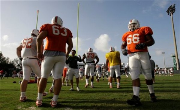 Miami offensive lineman Harland Gunn (66) does running drills during football practice in Coral Gables, Fla., Thursday. Miami's head coach Al Golden says his team is recovering from the shock of scandalous allegations hitting the program and sparking talk from the NCAA for &quotfundamental change&quot in college sports.