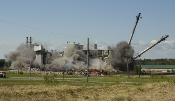 Saturday's implosion of the old heat plant on the former Loring Air Force Base in Limestone involved 290 pounds of dynamite that should have touched off the largest planned explosion in the state's history. When the dust settled, most of the building - though heavily damaged - was still standing.