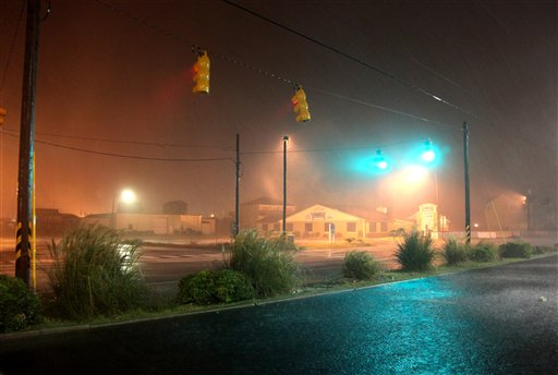 Hurricane Irene's outer bands reach Kill Devil Hills, N.C., early Saturday, Aug. 27, 2011.