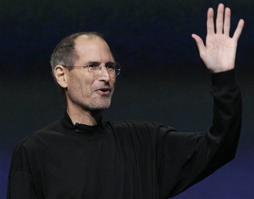 Apple Inc. Chairman and CEO Steve Jobs waves to his audience at an Apple event at the Yerba Buena Center for the Arts Theater in San Francisco. Apple Inc. on Wednesday, Aug. 24, 2011, said Jobs is resigning as CEO, effective immediately.