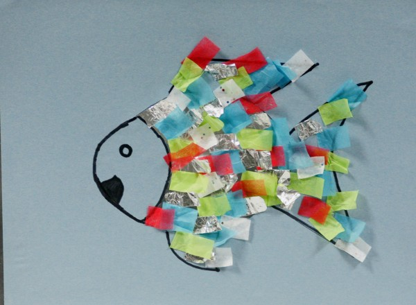 "A brightly-colored fish craft made alongside reading ""The Rainbow Fish"" can help teach kids about friendship."