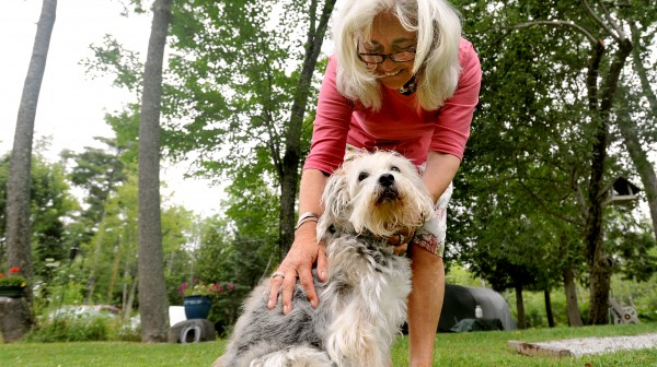 "Lyme disease patient Sue Bolduc of Islesboro pats her dog, Rosie, who is also Lyme positive. ""It [Lyme disease] robs you of your energy and can become debilitating,"" said Bolduc as she talked about her experience with the disease she contracted this year. Luckily she was diagnosed early enough so now she is well on her way to recover her strength."