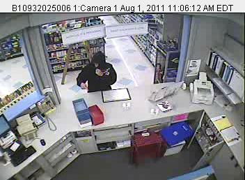 State police say a search in Manchester on Monday, Aug. 1, 2011, failed to locate a young man who robbed the pharmacy at the Rite Aid about 11 a.m.  The young man, believed about 20, was 5 foot 7 inches and was wearing a black hooded sweatshirt, bluejeans and sneakers.