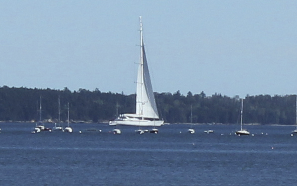 The Mirabella V, the world's longest, tallest single-masted yacht, spent the weekend moored between Northport and Islesboro. The sloop's mast is 290 feet tall, and is a charter vessel with rates of $250,000 per week listed in 2005.