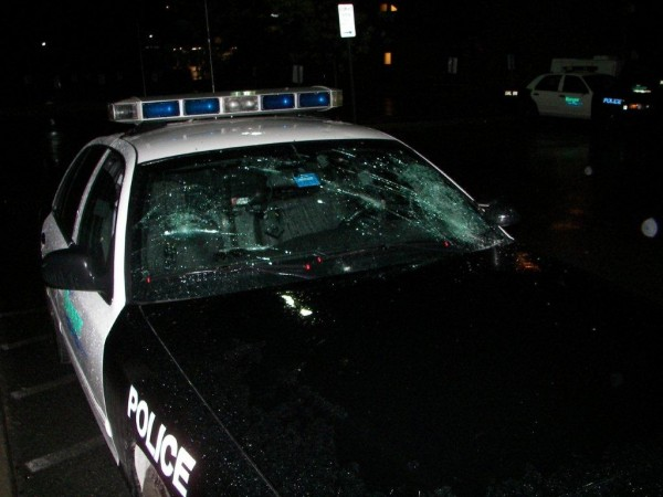 A 17-year-old girl allegedly caused damage to this police cruiser.