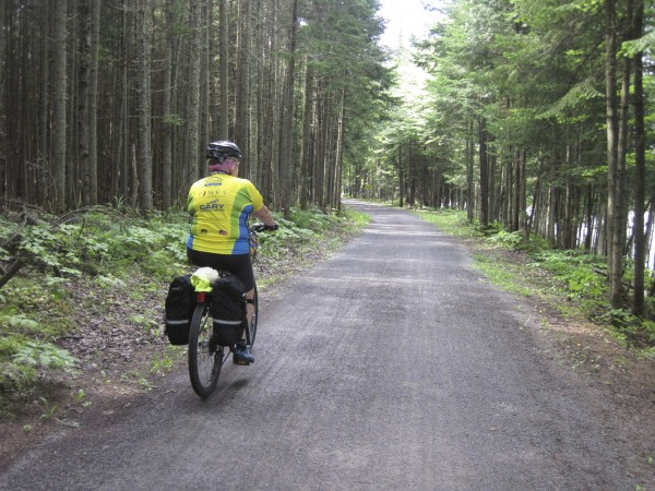 Cyclist Penny McHatten cruises along the trail between Saint-Catherine and  Pont-Rouge.