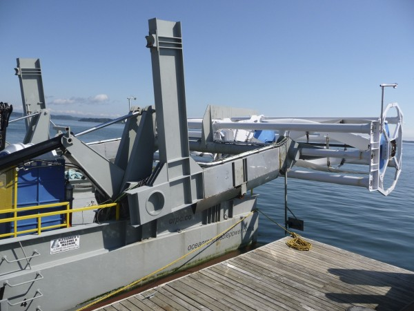 Ocean Renewable Power Company's hydro-turbine out of water.