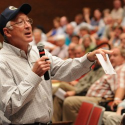 Interior Secretary Ken Salazar takes question from people gathered at Stearns High School in Millinocket on Thursday, Aug. 18, 2011 concerning the proposed national park in the north woods of Maine.