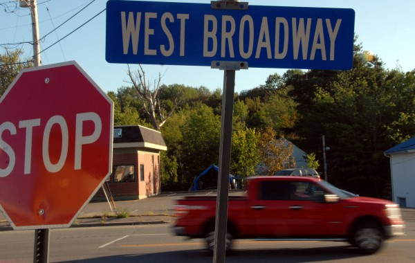 This sign at West Broadway and Fleming streets, as seen on Friday,