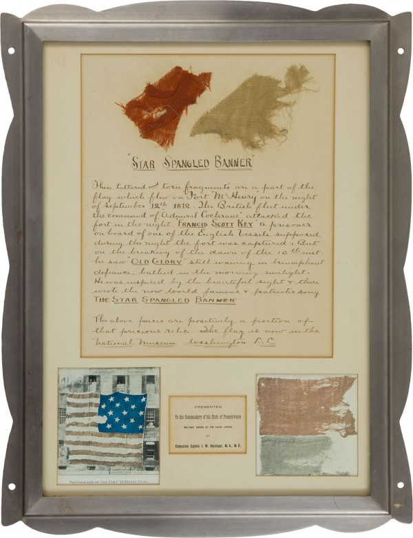 "The two documented fragments from the ""Star Spangled Banner"" sold for $65,725 recently at Heritage Auctions in Dallas."