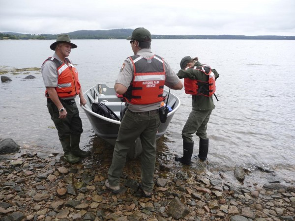 Researchers from the National Park Services' Submerged Resources Center in Denver launch from St. Croix National Historic Site at Calais Thursday. The five-person team is exploring the intertidal waters around St. Croix Island and Red Beach seeking historic artifacts from the French settlement of the island in 1604. &quotWe haven't found too much,&quot archaeologist Bert Ho said. The team, which has been on site for a week, will also be assessing the eastern side of the island, which is eroding near an ancient burial site.