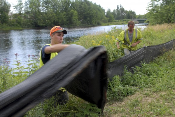 Trevor Turmel, 17, of Millinocket, pulls up a silt fence along Congress Street and Millinocket Stream near the Michael Michaud Walking and Biking Trail in Millinocket on Monday, Aug. 1, 2011.