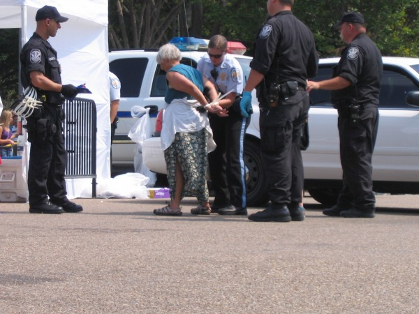 Andy Burt of Edgecomb is arrested Sunday morning in Washington, D.C. after resisting a police order at an environmental protest in front of the White House. She was released later that day.