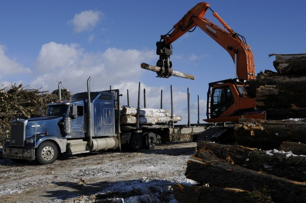 A crane adds freshly cut timber to Wayne Daggett's payload at a harvesting area in Dover-Foxcroft in February. Daggett runs Charles Daggett Inc. based in Topsfield and hauls wood for private contractors.