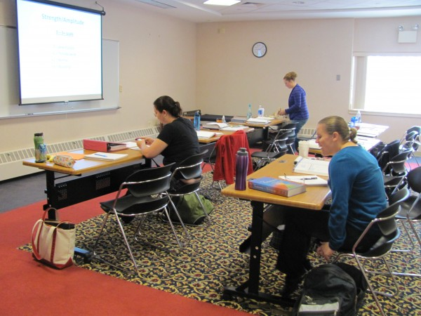 Some of the first students ever to attend classes at Southern Maine Community College's Midcoast Campus at the former Brunswick Naval Air Station study nursing on Friday, Sept. 2, 2011.