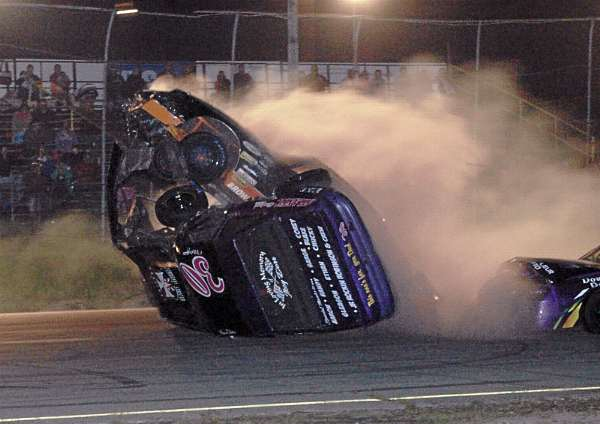 A car driven by Cody Brassbridge prepares to go airborne over a car driven by Ren Dorr of Addison during a crash in the Strictly Street race at Speedway 95 in Hermon Saturday night. Both drivers walked away from the crash.