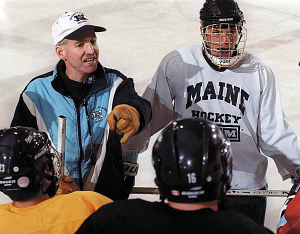 University of Maine hockey coach Shawn Walsh directs team members during a practice in October of 2000. Walsh, who coached Maine to two national championships, died 10 years ago Saturday after a 15-month battle with kidney cancer.
