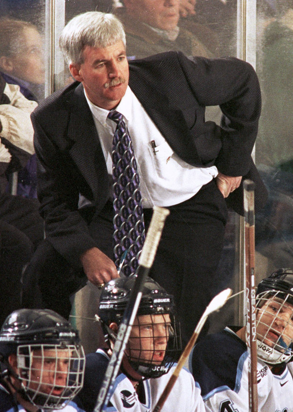 Maine hockey head coach Shawn Walsh directs his team during a game against Boston College in March of 2000. Walsh, who coached Maine to two national championships, died 10 years ago Saturday after a 15-month battle with kidney cancer