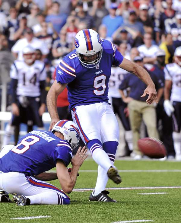 Buffalo Bills' Rian Lindell (9) kicks the game-winning field goal against the New England Patriots during the fourth quarter in Orchard Park, N.Y., Sunday, Sept. 25, 2011. The Bills won 34-31.