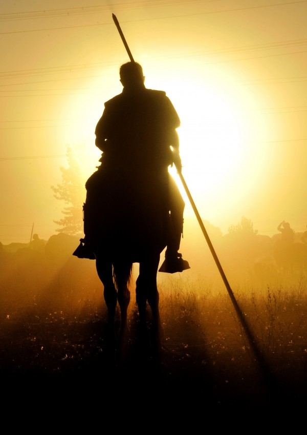 A horsemen rides with a spear during the 'Toro de la Vega' bull spearing fiesta in Tordesillas, Tuesday, Sept. 13, 2011.  The festival is one of the oldest in Spain with roots dating back to the fifteenth century. The bull has to be enticed across the river from the village to the plain before it can be killed to honor the 'Virgen de la Pena'.