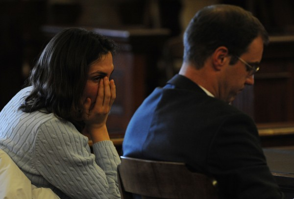 Amber Cummings reacts as she is given an 8-year suspended sentence by  Justice Jeffrey Hjelm in Waldo County Superior Court in Belfast on Thursday, Jan. 7, 2009. With Cummings is her defense attorney Eric Morse.