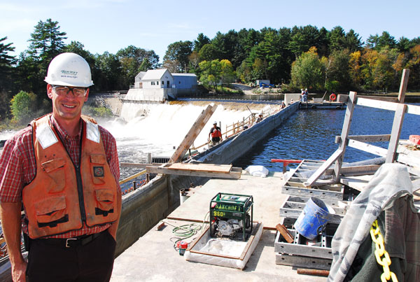 Mark Bancroft at Bancroft Contracting's Deer Rips hydropower site on the Androscoggin River.