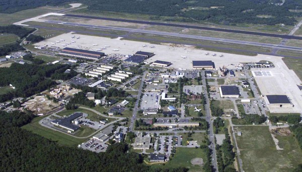 In this undated aerial file photo, the Brunswick Naval Air Station is seen. The redevelopment of the base reached perhaps the most important milestone in its six-year history Tuesday with an agreement for the transfer of some 1,100 acres of land and buildings from the Navy to civilian use.