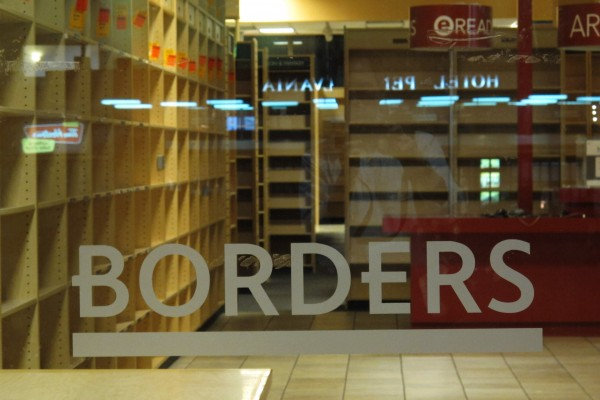 In this Sept. 9, 2011 photo, the bookshelves sit empty at the Borders bookstore at Penn Plaza in Midtown Manhattan in New York. (AP Photo/Aaron Jackson)