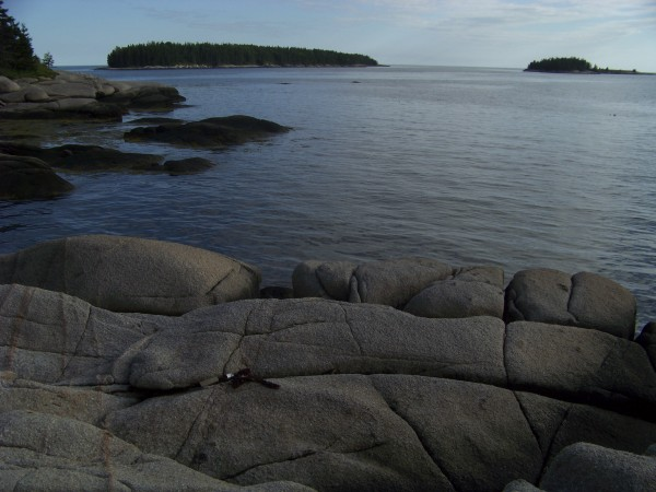 A easterly view from the rocky shore of Stevens Island off the coast of Jonesport, Maine.
