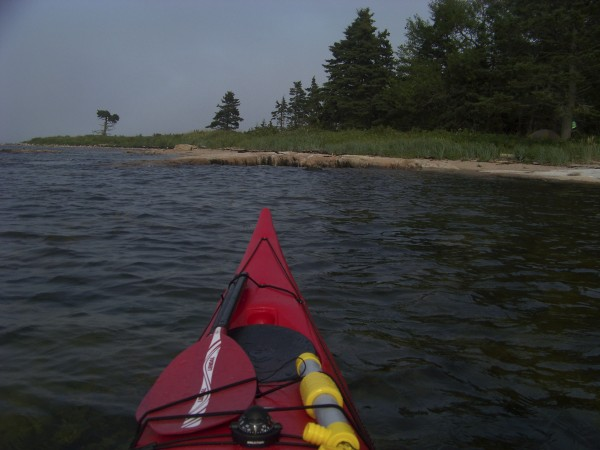 Paddling towards Stevens Island, Down East, Maine.