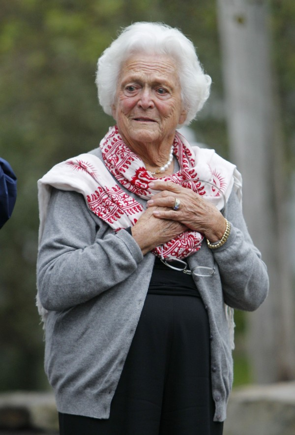 Former first lady Barbara Bush attends a ceremony to unveil a new garden named in her honor, Thursday, Sept 29, 2011, in Kennebunkport. A local group donated Ganny's Garden — Barbara Bush's grandchildren call her Ganny — on the town green. It features flowers, greens and 17 trees in honor of the Bushes' 17 grandchildren.