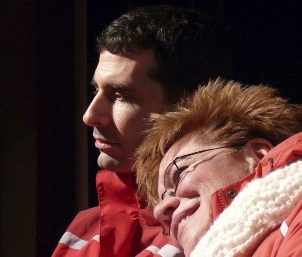 "Playwright John Cariani (left), who grew up in Presque Isle, returned to take part in the local production of his play, """"Almost, Maine,"" earlier this year. Performing in a scene with Cariani at a rehearsal is Tammy Ladner-Scott."