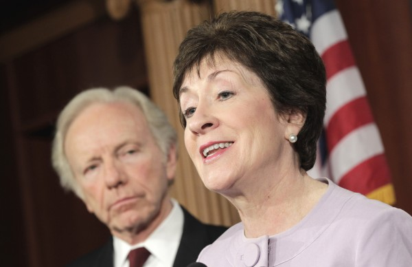 Sen. Susan Collins, R-Maine (right) is accompanied by committee chairman Sen. Joseph Lieberman, I-Conn., in May 2011.