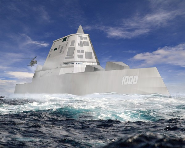 A rendering shows what the DDG 1000 ships Bath Iron Works is building will look like. The two new destroyers are part of the Zumwalt class.
