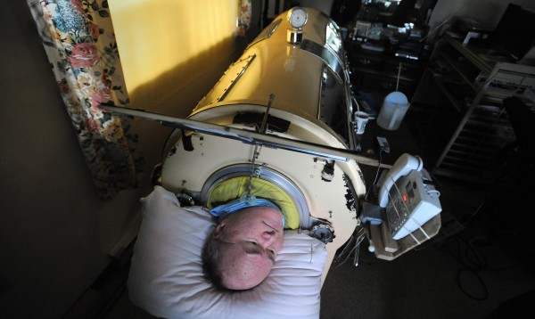 Dennis Stubbs, 64, of Bangor contracted polio at the age of 7. Stubbs spends every night in an iron lung to help him breath while he is asleep. He feels comfortable in the machine even though there are other options for people who have similar health issues.
