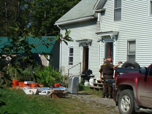 Police conducted two searches Tuesday morning at this home near the