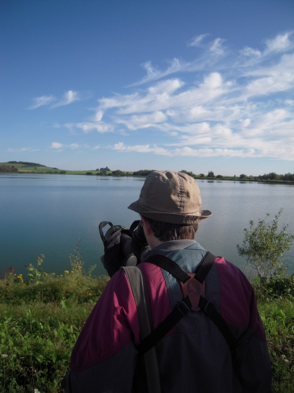 Judy Roe of Presque Isle takes her turn viewing a ring-necked duck floating on Lake Josephine in Easton during a morning birdwalk with 14 other Aroostook Birders Aug. 13.