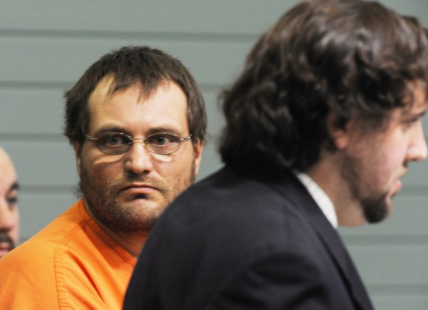 Arnold Diana looks toward the gallery during his initial appearance on Monday, November 29, 2010 at Knox County Superior Court. With Diana is his temporary attorney Jeremy Pratt. Diana is charged with murder in connection with the death of Katrina Windred.