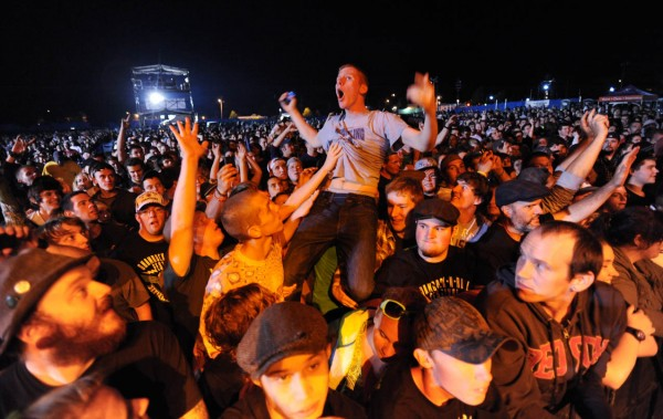 The crowd gets whipped into a frenzy before Dropkick Murphys takes the stage on Saturday, Sept. 10, 2011 along the Bangor Waterfront