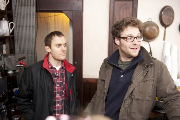 Writer Will Reiser and actor Seth Rogen on the set of &quot50/50.&quot