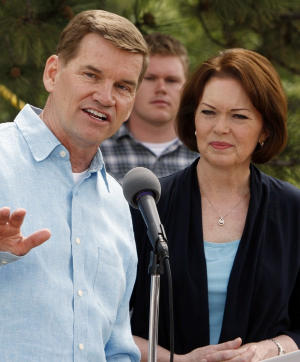 In this June 2, 2010 file photo, Ted Haggard, the former megachurch pastor who fell from grace amid a sex scandal, with his wife Gayle at his side talks about the new church that he is starting up during a news conference at their home in Colorado Springs, Colo. A show producer confirmed that Haggard will swap his wife Gayle for Steffanie Sampson, the girlfriend of actor Gary Busey in an upcoming episode of  the ABC series &quotCelebrity Wife Swap.&quot