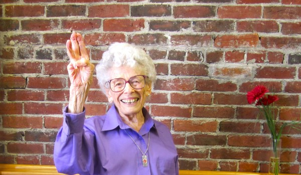 A royal wave from Queen Elizabeth, 94 year old yoga regular at the senior center.